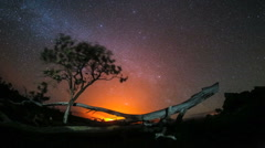 Amazing Night Sky Stars Over Lava from Hawaii Volcano - stock footage