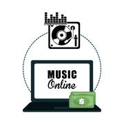 Music design. Online icon. Isolated illustration, vector graphic - stock illustration