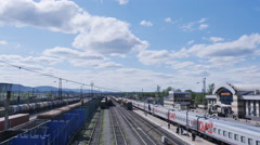 VIHOREVKA/RUSSIA - 02 Jun 2016 : railway station,  passenger train, timelapse Stock Footage
