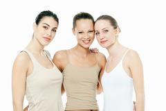 Three young women together - stock photo