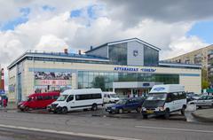 Bus station Gomel, Belarus - stock photo