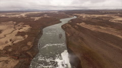 Aerial of the Gargantuan Gullfoss Waterfall in Iceland Stock Footage