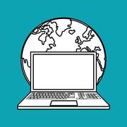 laptop design. planet icon. Isolated illustration , vector - stock illustration