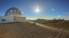 Sunrise Sunset Observatory Dish Mauna Kea Hawaii Stock Footage