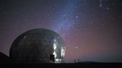 Stars Timelapse Night Sky Over Observatory Dome - stock footage