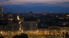 Turin skyline at night panoramic view pan Stock Footage