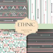 Seamless vector tribal texture aztec set. Boho stripes. Ethnis pattern Stock Illustration