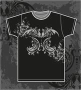 T-shirt design with vintage floral element Stock Illustration
