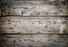 Old decayed wooden door - stock photo