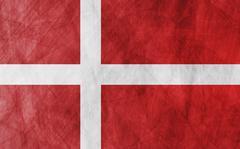Danish grunge flag background - stock illustration