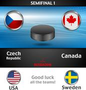 Semifinal of the world championship hockey background with black puck - stock illustration