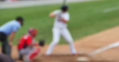 Hitting Home Run at Baseball Game Establishing Background Blur, 4K - stock footage