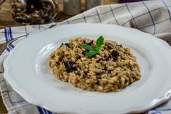 Italian mushroom risotto - stock photo