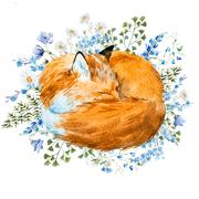 Watercolor sleeping fox - stock illustration