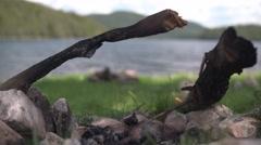 Fireplace Wood to Lake Focus 4K - stock footage