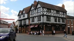Unidentified tourists in the center of Stratford Upon Avon, - stock footage