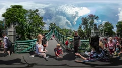 360Vr Video Walkers on Bridge City Day Opole Families Kids Spend Time Together Stock Footage