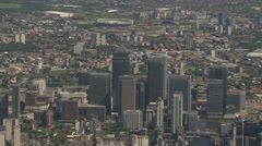 Canary Wharf South Side Aerial London Stock Footage