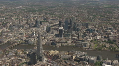 Aerial Central London. The Shard and City Of London Sky Scrapers. - stock footage