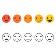 Feedback emoticon set, Line Emoticon collection Stock Illustration