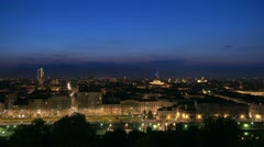 Wide shot of turin skyline at night panning Stock Footage