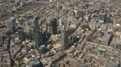 City Of London Sky Scrapers South View Aerial Stock Footage