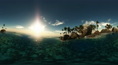panoramic of tropical beach at sunset. made with оne 360 degree lense on moving  - stock footage