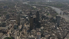 City Of London Sky Scrapers East View Aerial Stock Footage