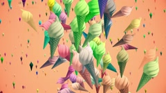 Flying ice creams in various colors Stock Footage
