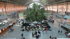 Jungle in Atocha Station Madrid Stock Footage