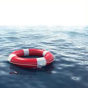 Red lifebuoy in blue sea with depth of field effect. 3d illustration - stock illustration