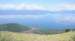 Paragliding in Lake Ohrid, Macedonia Stock Footage