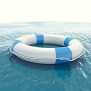 Lifebuoy floating in sea with a blur effect. 3d illustration - stock illustration