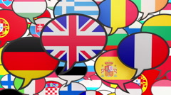 World flags in form of speech bubble Stock Footage
