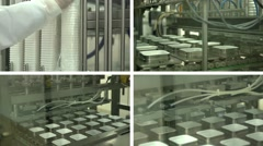 Dairy production plant baby food yogurt on a conveyor machine pouring into cups Stock Footage