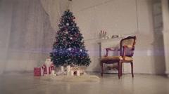 Christmas living room. Falling snow - stock footage