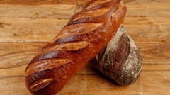 Different rye and white flour bread loaf Stock Footage