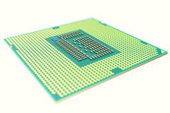 CPU chip, central processor unit, isolated on white with depth of field effects Stock Illustration