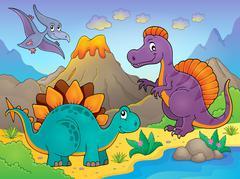 Dinosaur topic image - eps10 vector illustration. - stock illustration