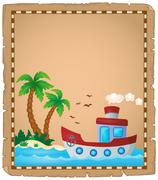 Parchment with nautical boat theme - eps10 vector illustration. Stock Illustration