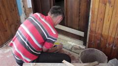 Carpenter door to install Stock Footage