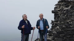 Senior men with trekking poles talking outdoors on hiking trip. Stock Footage