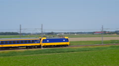 Intercity train of the Dutch Railways NS Stock Footage