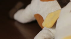 Cup of coffee espresso and a soft toy on the bar Stock Footage