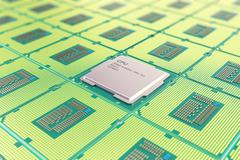 Modern central computer processors CPU, industry concept close-up view with Stock Illustration