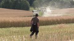 Hunter and harvest of oilseed rape Stock Footage