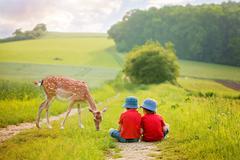 Two preschool children, sitting in the rural, contemplating little foe - stock photo