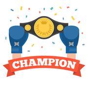boxing holding championship belt with champion red ribbon - stock illustration
