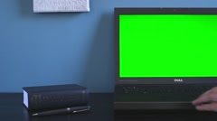 Dell computer on desk showing users hand Stock Footage