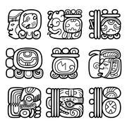 Maya glyphs, writing system and languge vector design - stock illustration